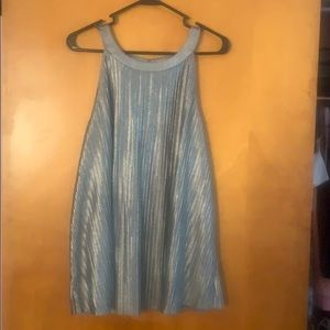 Metallic pleated high neck tank